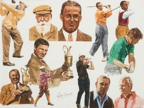 Chris Last (contemporary) GOLF LEGENDS signed, titled &