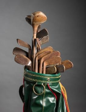 Collection of 31 hickory shafted golf clubs, including