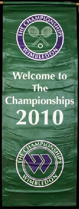 A large ''Welcome'' banner from the 2010 Wimbledon Lawn