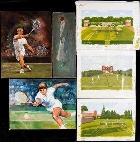Six original artworks featuring lawn tennis, i) an oil