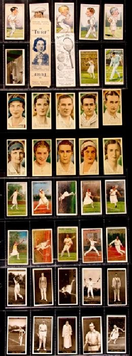 A collection of nearly 200 lawn tennis cigarette cards,
