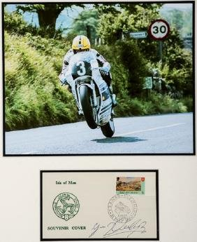 Joey Dunlop signed 1976 souvenir postal cover, produced