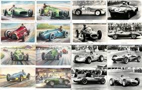1950s & 1960s period motor racing postcards and other