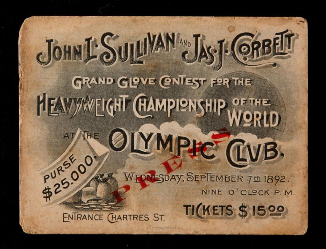 A full ticket for the John L. Sullivan v ''Gentlemen