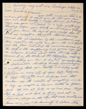 A Tommy Burns signed manuscript letter from Coalinga,