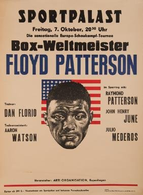 Floyd Patterson boxing exhibition poster, Berlin, 1960,