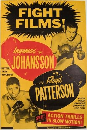 Movie theatre screening poster for Ingemar Johansson v