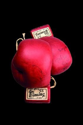 The boxing gloves worn by Muhammad Ali in the World