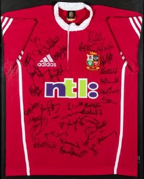 Framed British & Irish Lions shirt signed by the