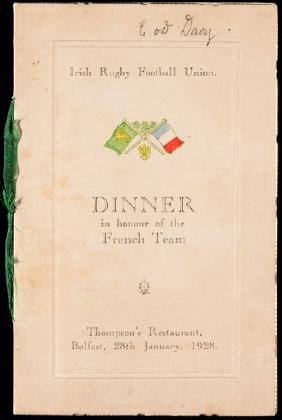 Irish Rugby Football Union menu for a dinner in honour
