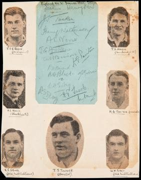 The autographs of the England rugby team who played