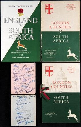 The autographs of the 1951-52 South Africa Rugby Union