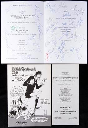 A British Sportsman's Club ''All Blacks'' luncheon menu