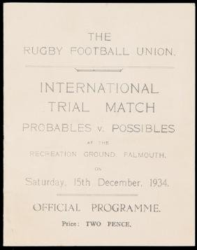 International Rugby Union Trial Match programme