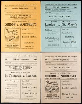 Nine London Hospital Cup rugby programmes, finals for