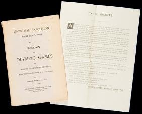 A rare programme of the Olympic Games of St Louis 1904,
