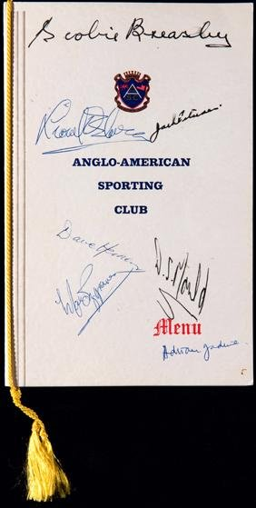 Autographed menu for an Anglo-American Sporting Club