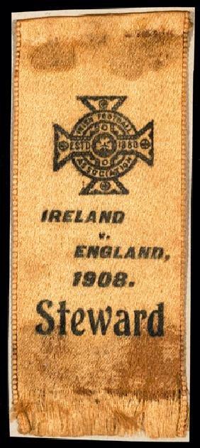 Steward's ribbon for the Ireland v England