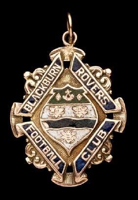 A 9ct. gold & enamel Blackburn Rovers football medal,