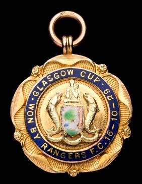 9ct. gold & enamel Glasgow Cup medal won by Thomas