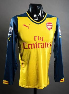 Alexis Sanchez: a yellow Arsenal No.17 match-issued