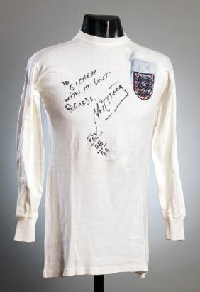 George Cohen's white England No.2 jersey worn in the