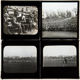 A group of four magic lantern glass slides for the