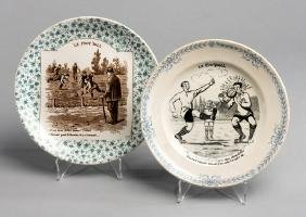 Two French pottery plates featuring football, a St