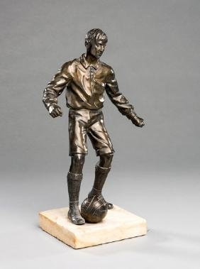 Bronze figure of a footballer traditionally said to be