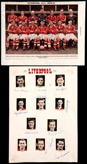 Liverpool FC autographs, including a colour magazine