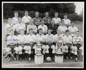 An autographed Tottenham Hotspur 1960-61 double winning