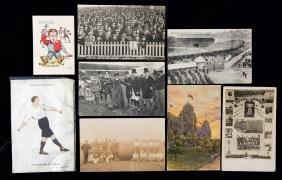 Football postcards, crowd scenes, views of stadiums