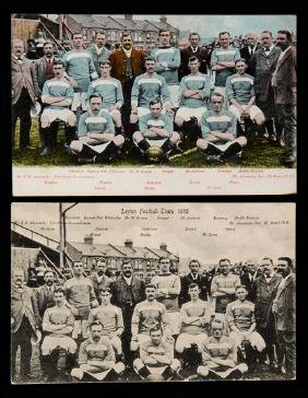 Two Leyton Football Club postcards, both team-groups in