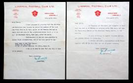 A pair of letters from Liverpool FC secretary J C Rouse