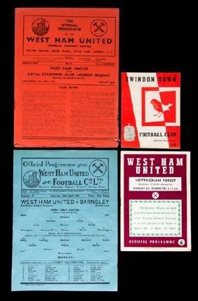 43 West Ham United programmes, 22 homes dating between