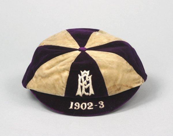 8: A purple & white F.A. international trial cap season