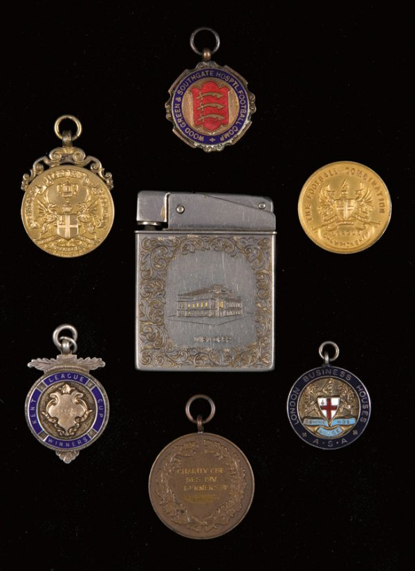 22: A group of seven medals, comprising: two silver-gil