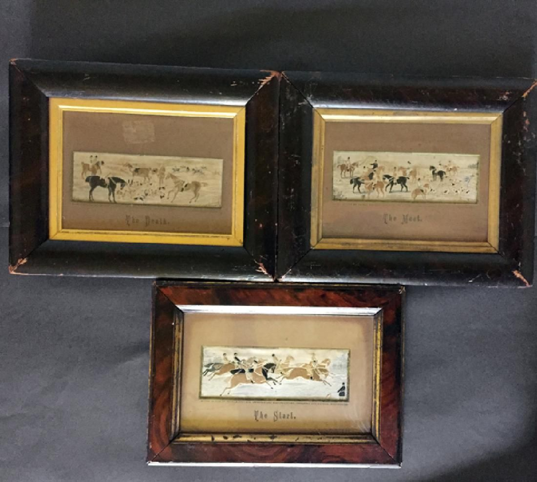 Three 19th century horse racing/hunting Stevengraph