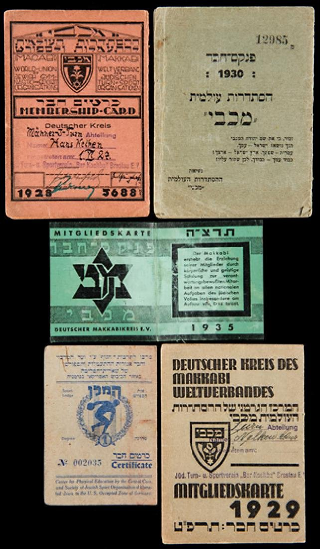 Membership cards for Maccabi in Germany for the years