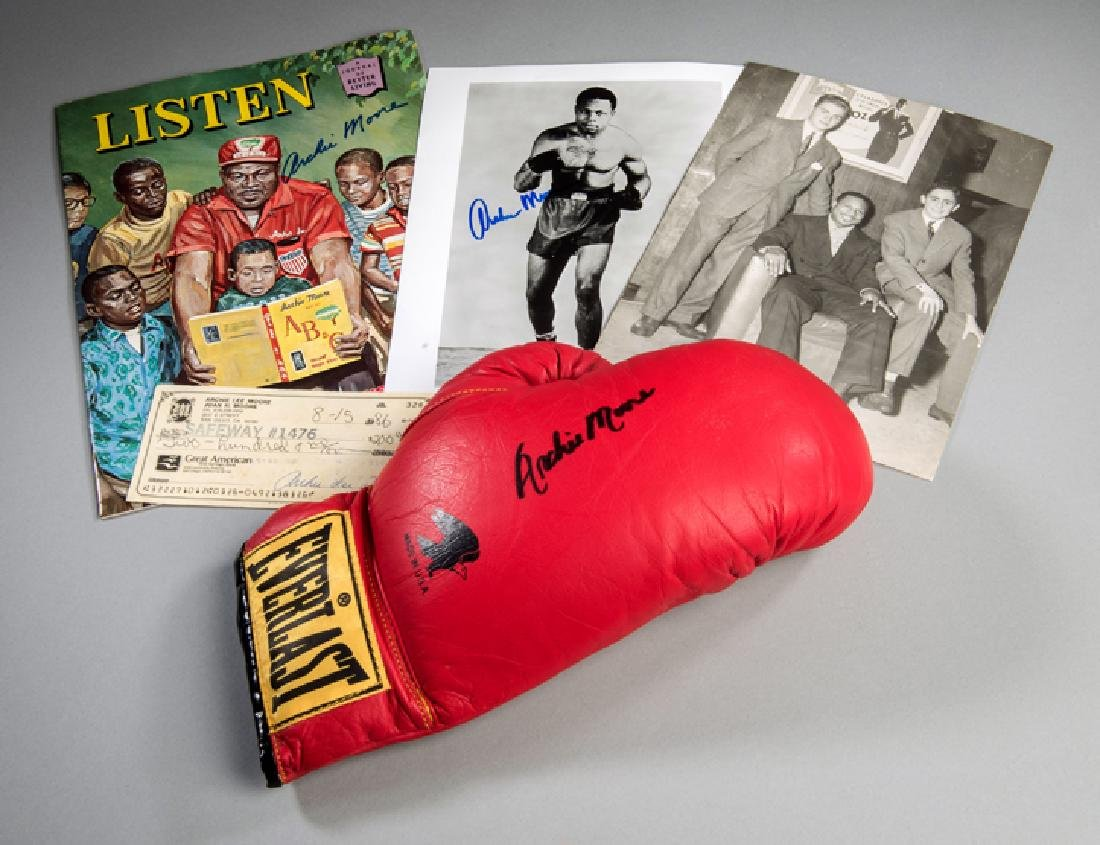 Archie Moore signed boxing glove and other memorabilia,