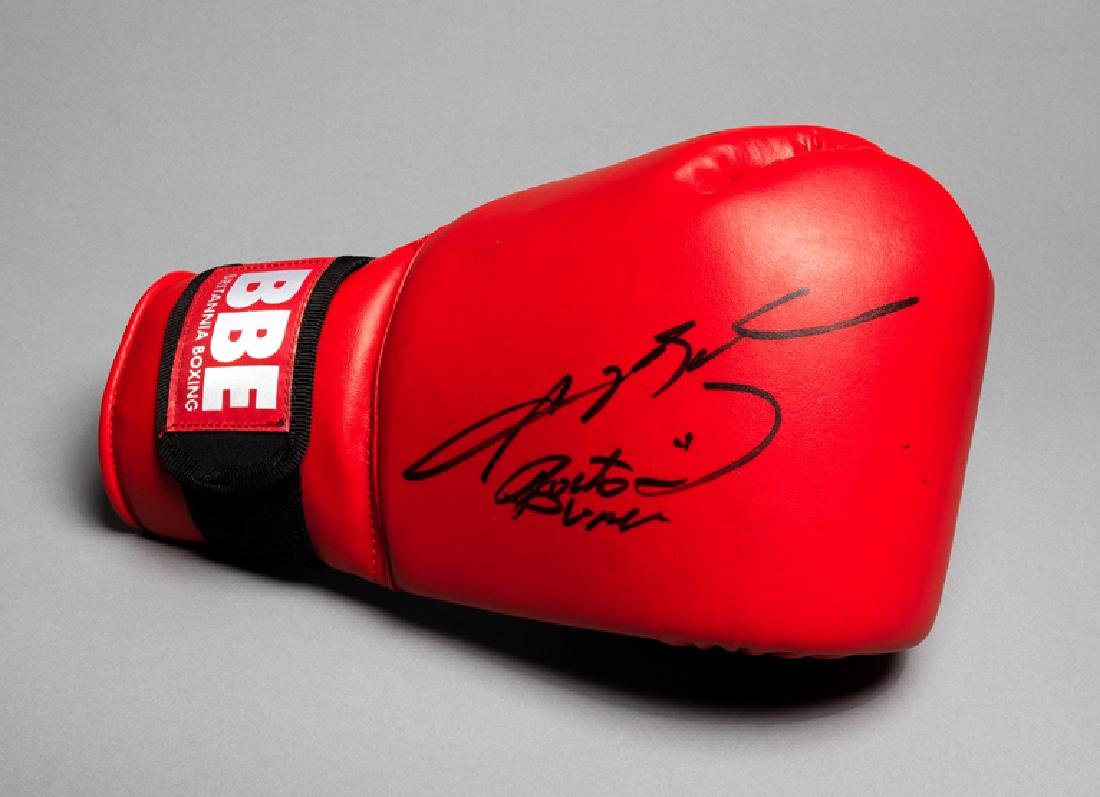 Boxing glove double-signed by Roberto Duran and Sugar