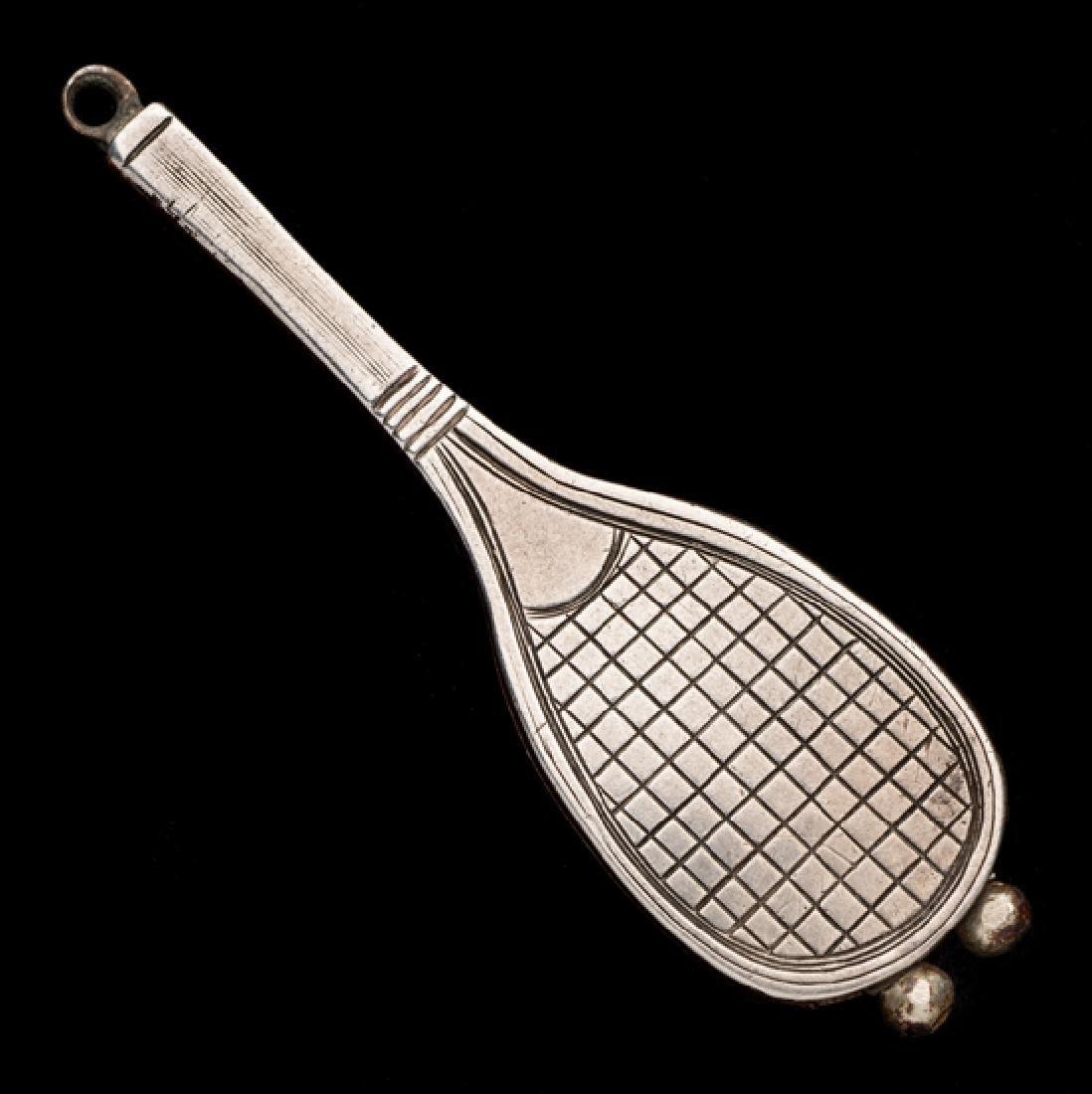 Victorian silver tennis racquet cigar cutter,