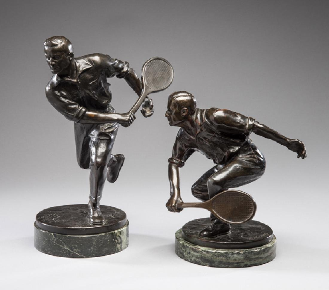 Pair of fine quality bronzes of tennis players circa