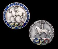 Two Berlin 1936 Olympic Games equestrian badges, both