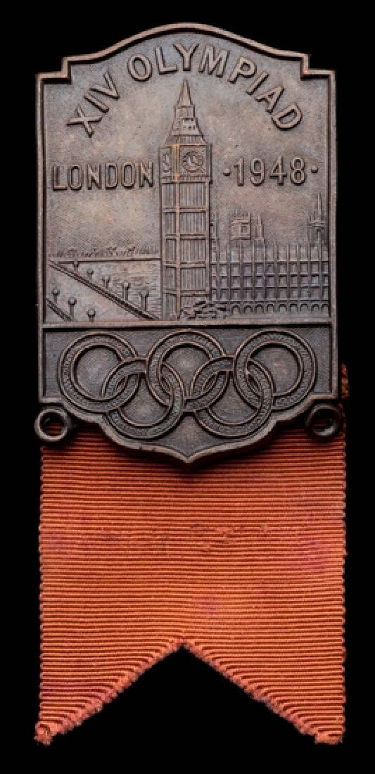 London 1948 Olympic Games participant's badge for