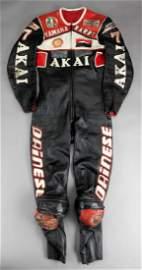 Barry Sheene 1981 Akai Yamaha race-worn leathers, by