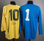 Signed Pele and Gordon Banks 1970 World Cup style