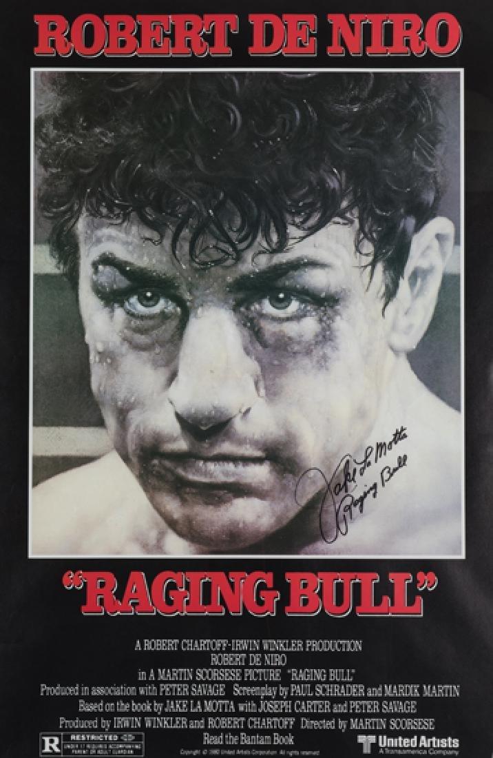Jake La Motta signed poster for the movie ''Raging