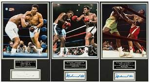 A fine trio of Muhammad Ali signed photographic