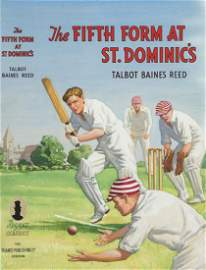Original cricket artwork for the dust jacket of a story